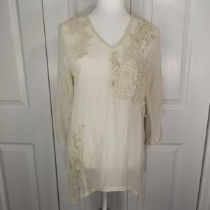 Johnny Was Sheer Rayon Tunic w Floral Appliques